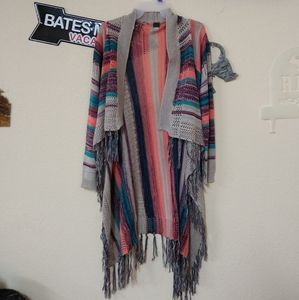 Poof multicolored cardigan with Tassels. Size M